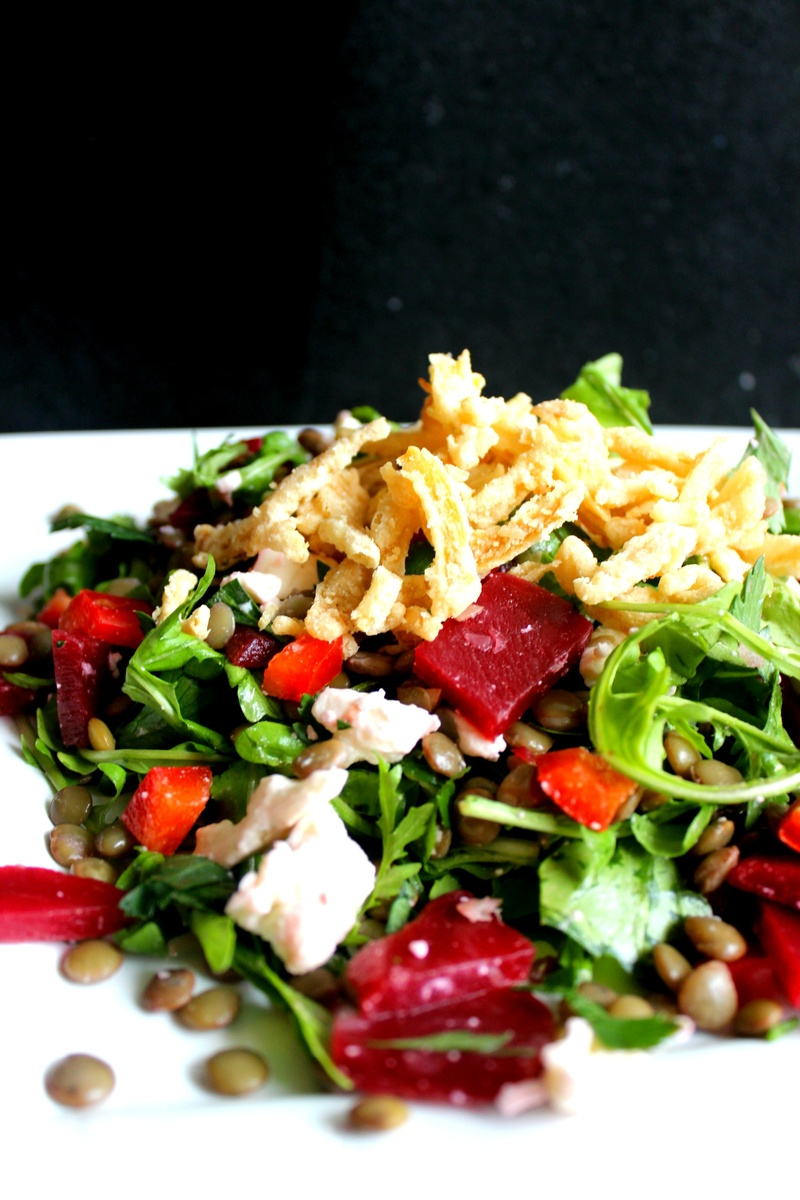 Hearty Lentil Beet Salad With Feta Cheese And Crispy