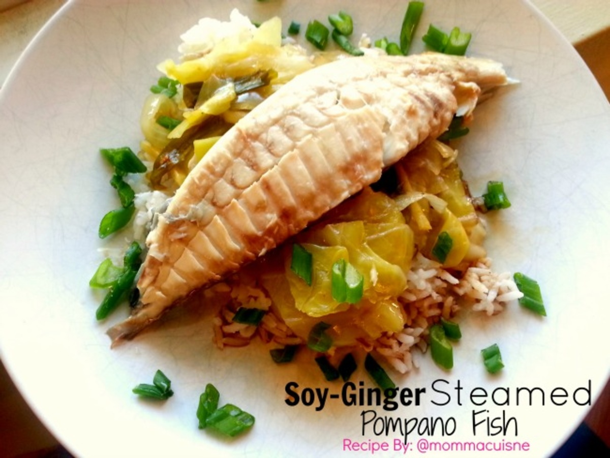 Soy ginger steamed pompano fish cookmore recipes for Pompano fish recipes